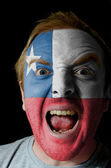Face of crazy angry man painted in colors of Chile flag — Stock Photo
