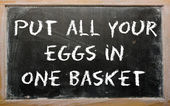 "Proverb ""Put all your eggs in one basket"" written on a blackboar — Stock Photo"