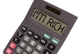 "Old calculator on white background showing text ""I'm rich"" i — ストック写真"