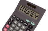 "Old calculator on white background showing text ""money"" in persp — Stockfoto"