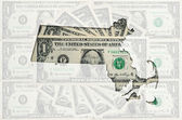 Outline map of massachusetts with transparent american dollar ba — Stock Photo