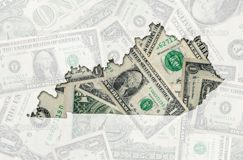 Outlined map of Kentucky with transparent background of US dollar banknotes — Stock Photo #7339696