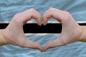 Hjärta och kärlek gest visade händerna över flagga botswana bac — Stockfoto