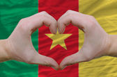 Heart and love gesture showed by hands over flag of cameroon bac — Stock Photo