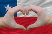 Heart and love gesture showed by hands over flag of chile backgr — Stock Photo