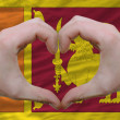 Stock Photo: Heart and love gesture showed by hands over flag of sri lanka