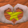 Stock Photo: Heart and love gesture showed by hands over flag of vietnam back