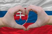 Gesto de amor e coração mostrou pelas mãos sobre a bandeira da Eslováquia bac — Fotografia Stock