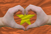 Heart and love gesture showed by hands over flag of vietnam back — Stock Photo