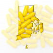 Outline map of rhode island with transparent pills in the backgr - Stock Photo