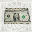 Outline map of north dakota with transparent american dollar ban — Stock Photo