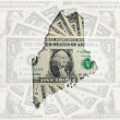 Outline map of maine with transparent american dollar banknotes - Stock Photo