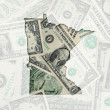 Outline map of minnesota with transparent american dollar bankno — Stock Photo #7469927
