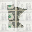Outline map of minnesota with transparent american dollar bankno — Stock Photo