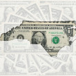 Outline map of north carolina with transparent american dollar b — Stock Photo
