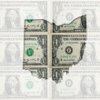 Outline map of ohio with transparent american dollar banknotes i — Stock Photo