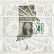 Outline map of rhode island with transparent american dollar ban — Stock Photo #7470253