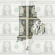Outline map of rhode island with transparent american dollar ban — Stock Photo #7470261