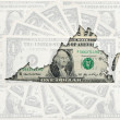 outline map of virginia with transparent american dollar banknot — Stock Photo