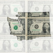 Outline map of washington with transparent american dollar bankn — Stock Photo
