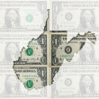 Outline map of west virginia with transparent american dollar ba — Stock Photo
