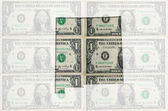 Outline map of missouri with transparent american dollar banknot — Stock Photo
