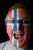 Face of crazy angry man painted in colors of norway flag — Fotografia Stock
