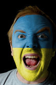Face of crazy angry man painted in colors of ukraine flag — Stock Photo