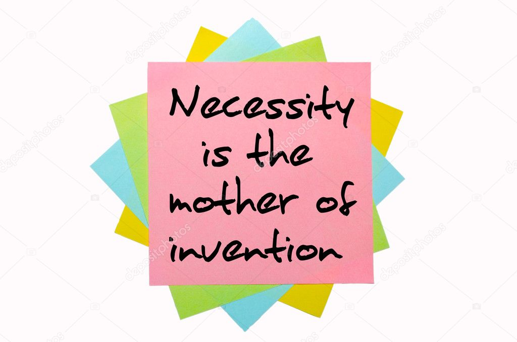 Text  Necessity is the mother of invention  written by hand font on bunch of colored sticky notes — Stock Photo #7558218