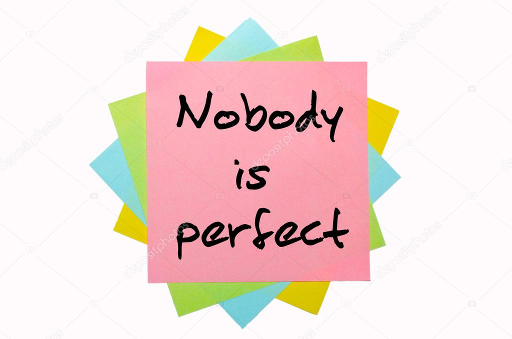 Text  Nobody is perfect  written by hand font on bunch of colored sticky notes — Stock Photo #7558396