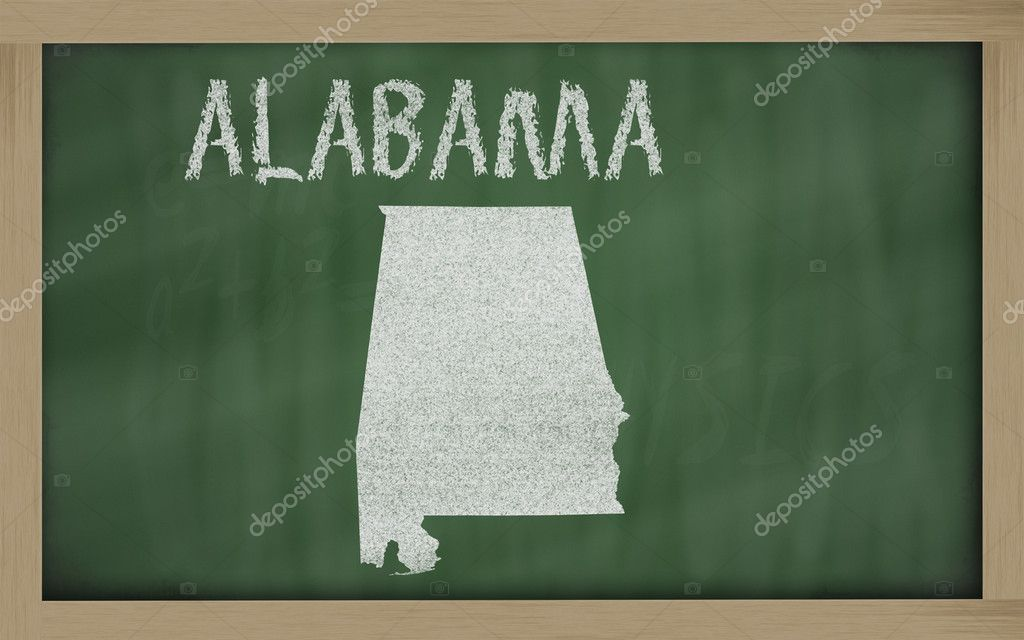 Drawing of alabama state on chalkboard, drawn by chalk — Stock Photo #7603026