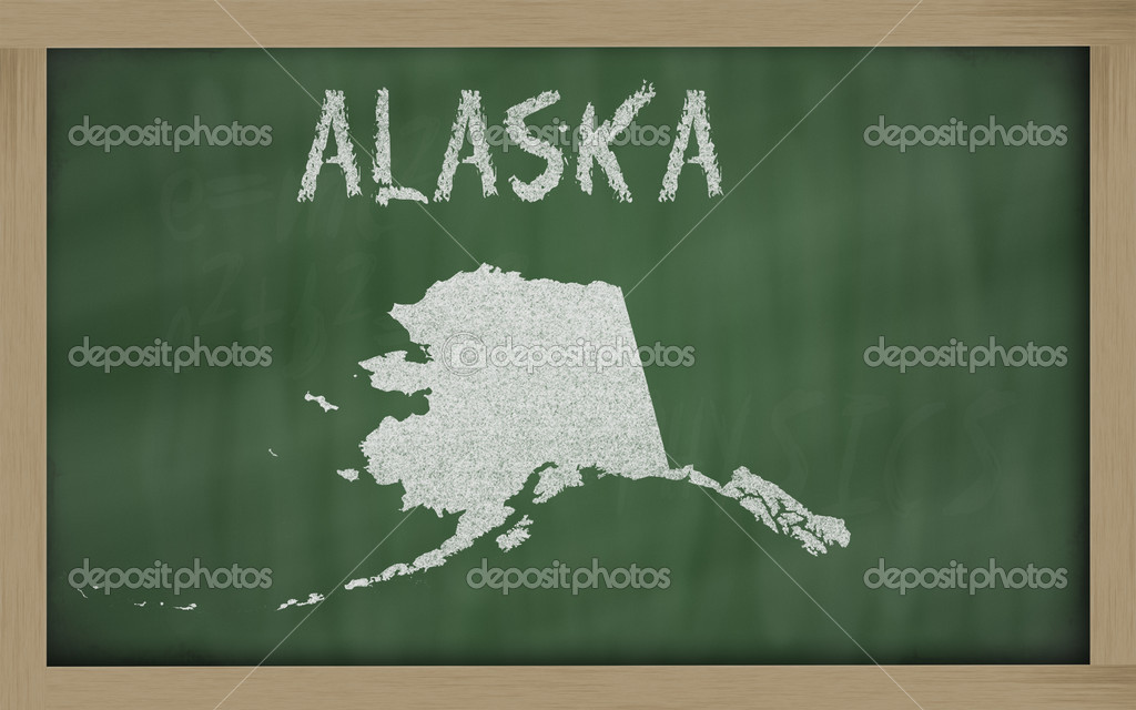 Drawing of alaska state on chalkboard, drawn by chalk  Stock Photo #7603116