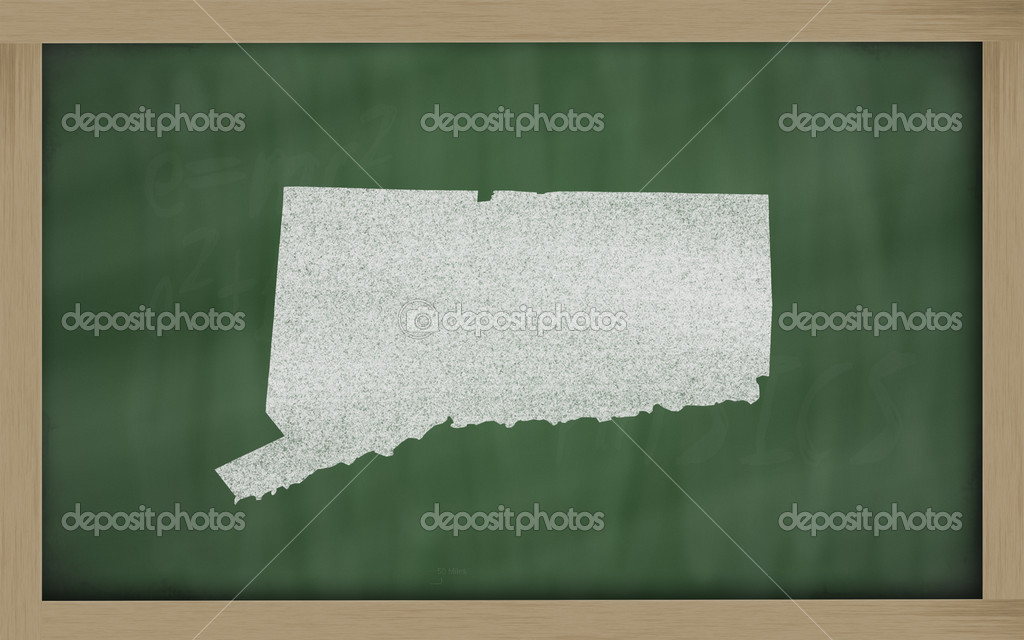 Drawing of connecticut state on chalkboard, drawn by chalk — Stockfoto #7626581