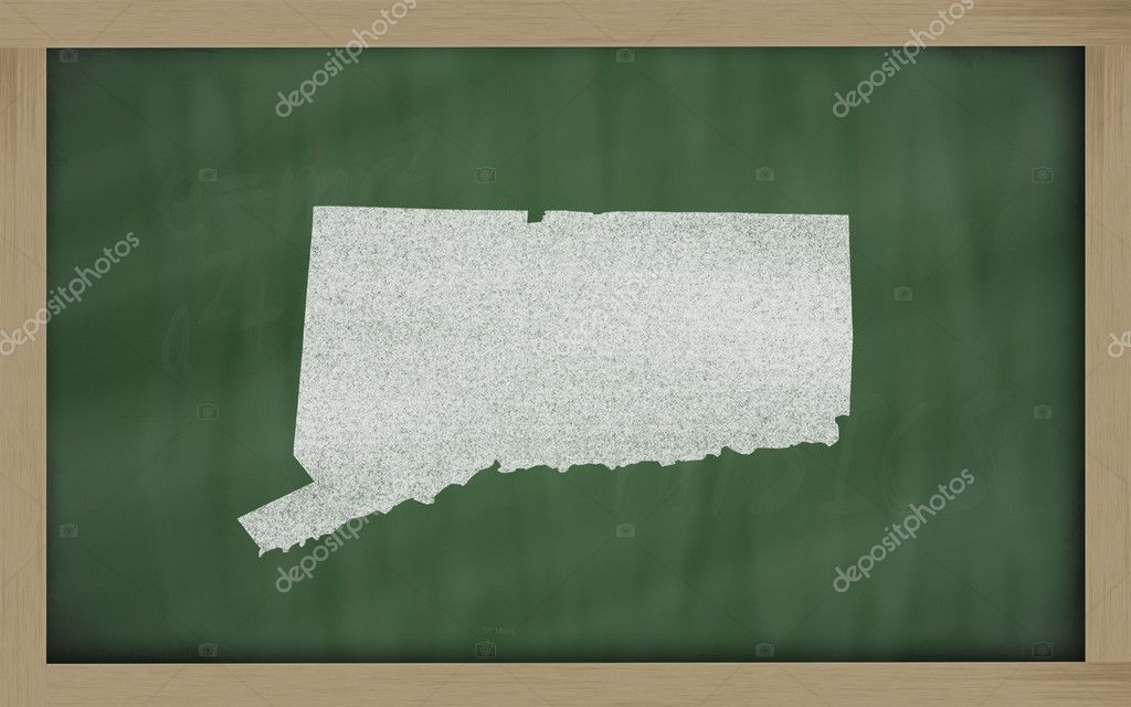 Drawing of connecticut state on chalkboard, drawn by chalk  Stock Photo #7626581