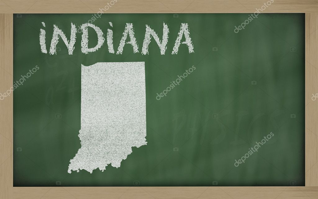 Drawing of indiana state on chalkboard, drawn by chalk — Foto Stock #7626846