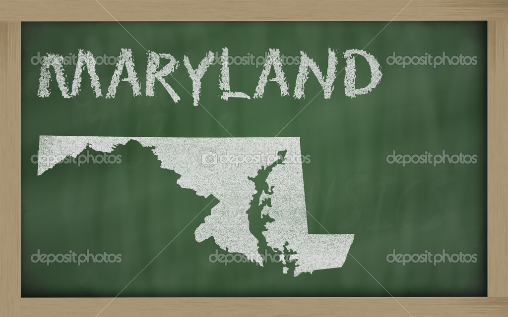 Drawing of maryland state on chalkboard, drawn by chalk  Stock Photo #7627154