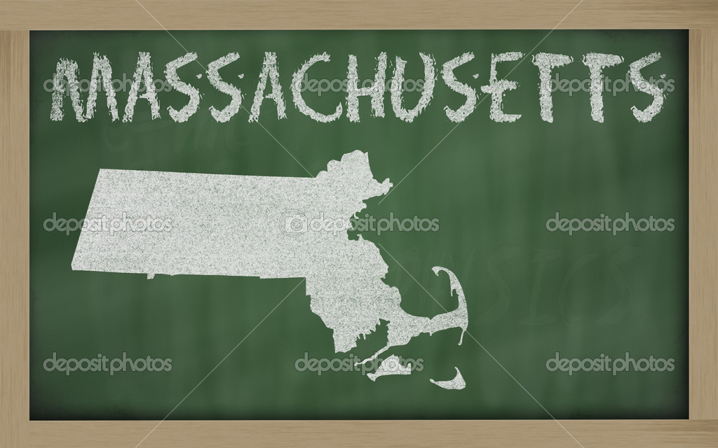 Drawing of massachusetts state on chalkboard, drawn by chalk  Photo #7627247