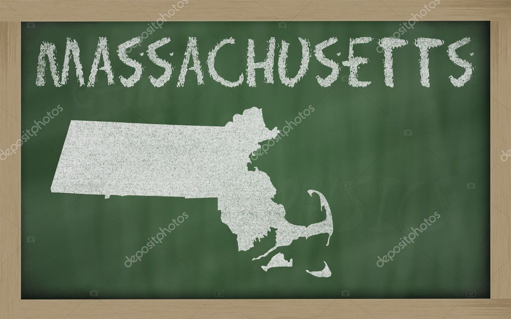 Drawing of massachusetts state on chalkboard, drawn by chalk — Stock Photo #7627247