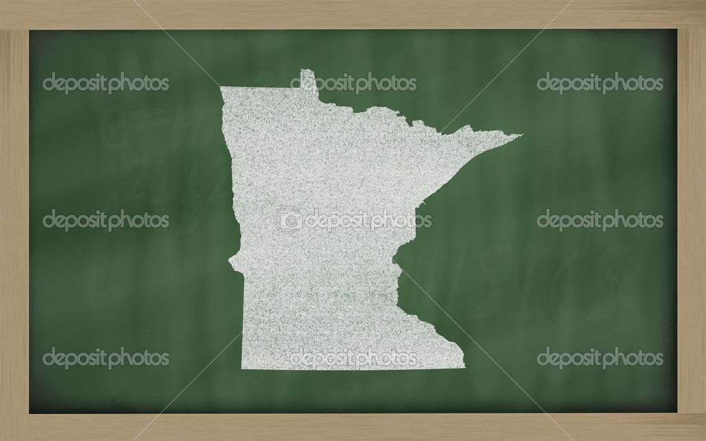 Drawing of minnesota state on chalkboard, drawn by chalk  Photo #7630236