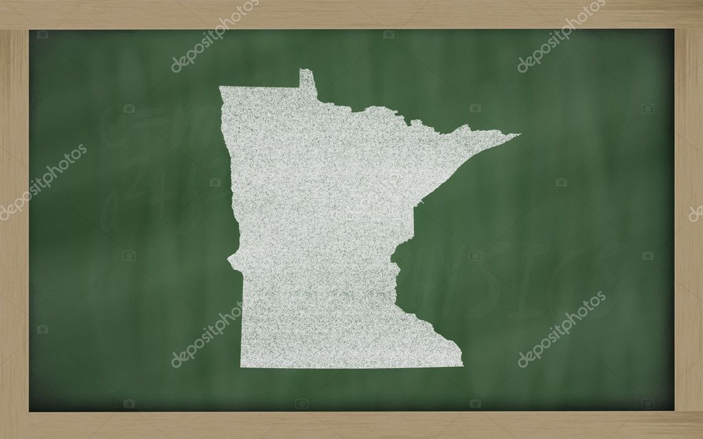 Drawing of minnesota state on chalkboard, drawn by chalk — Stok fotoğraf #7630236