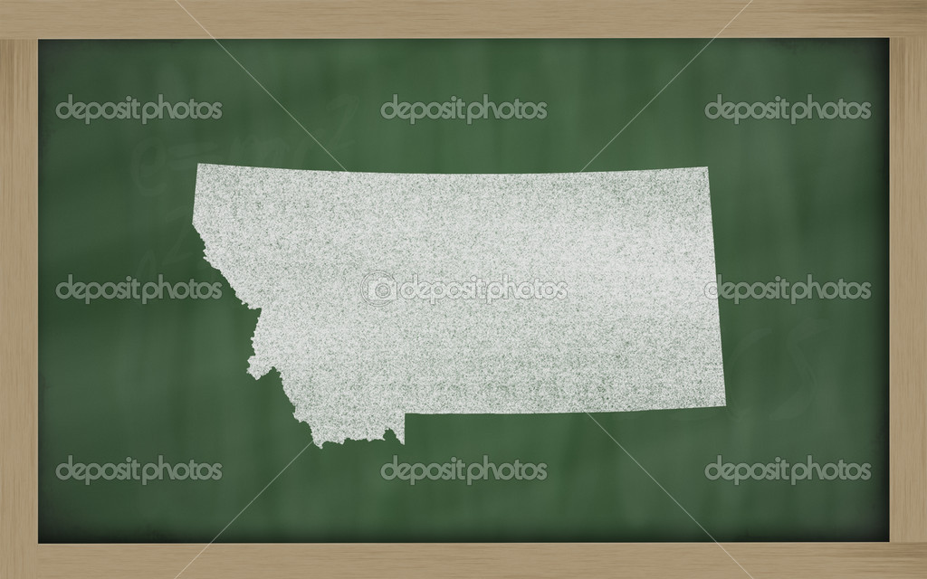 Drawing of montana state on chalkboard, drawn by chalk  Foto Stock #7630369