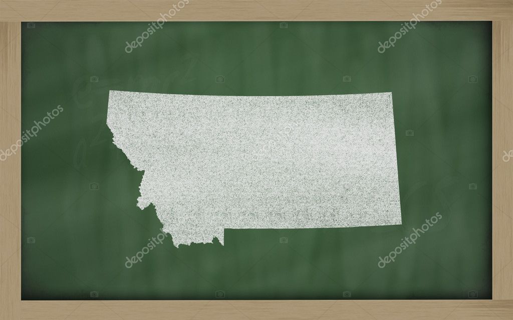 Drawing of montana state on chalkboard, drawn by chalk — Foto Stock #7630369