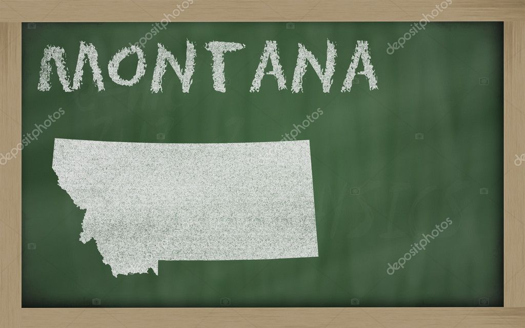 Drawing of montana state on chalkboard, drawn by chalk  Foto de Stock   #7630410