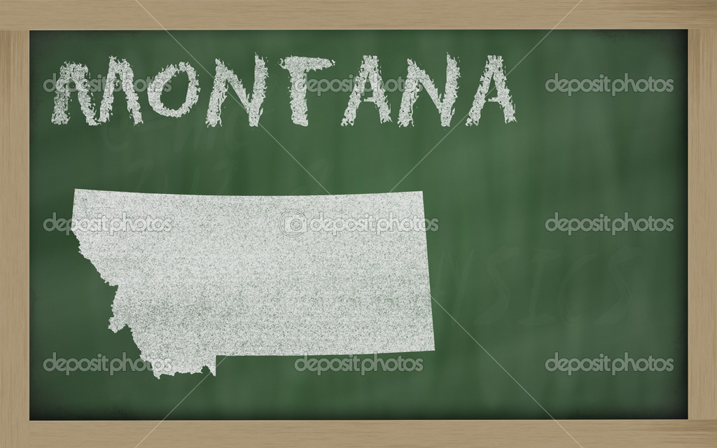 Drawing of montana state on chalkboard, drawn by chalk — Stockfoto #7630410