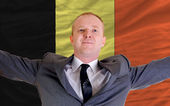 Happy businessman because of profitable investment in belgium st — Stock Photo