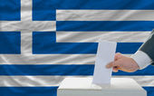 Man voting on elections in greece — Stok fotoğraf