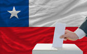 Man voting on elections in chile — Stok fotoğraf