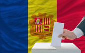 Man voting on elections in andora — Foto Stock