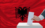 Man voting on elections in albania — Stok fotoğraf
