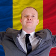 Happy businessman because of profitable investment in romania st — Stock Photo
